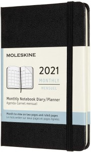 MOLESKINE kalendarz 2021 CZARNY POCKET HARD MONTHLY (9x14)