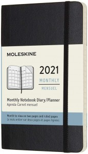 MOLESKINE kalendarz 2021 CZARNY POCKET SOFT MONTHLY (9x14)